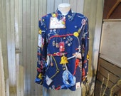 Vintage Nautical Sailor Blouse Rope middy chain Novelty print rayon shirt Navy blue Gold M L