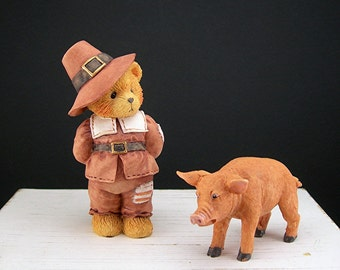 "Cherished Teddies Figurine, Pilgrim Jedediah ""Giving Thanks for Friends"", 1994, Thanksgiving"