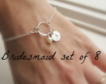 Bridesmaid gift set of EIGHT (8), custom initial bracelets, pearl bracelets, bridal party jewelry, personalized gift, wedding jewelry set