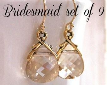 Bridesmaid earrings, gold earrings, bridesmaid gift set nine pairs, Swarovski Crystal earrings, champagne earrings, autumn wedding, weddings