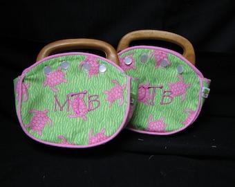 Bermuda Bag Little GIRLS Pink and Green Turtles with Reversible Cover CUSTOM Handmade