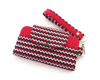 Wallet / Cell Phone Wallet / Wristlet Wallet / Zippered Pocket / ID Wallet / Errand Runner / Handmade Wallet / Red Black White / Chevron