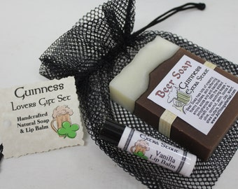 Guinness Gift Set - Beer Soap & Lip Balm - Perfect Beer Lover Gift for Father's Day, Parties, Birthdays and Groomsmen