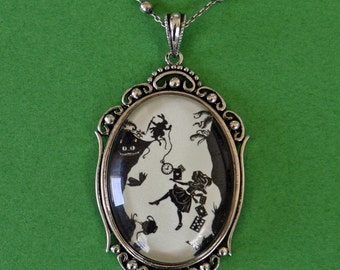 Sale 20% Off // ALICE IN WONDERLAND Necklace - Down the Rabbit Hole, pendant on chain, Silhouette Jewelry // Coupon Code SALE20