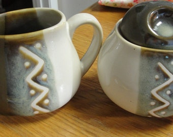 Sango ZigZag Creamer and Sugar Set