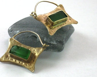 Green Glass Earrings, Gold Sea Glass Hoops, Rustic Handmade Sea Glass Jewelry
