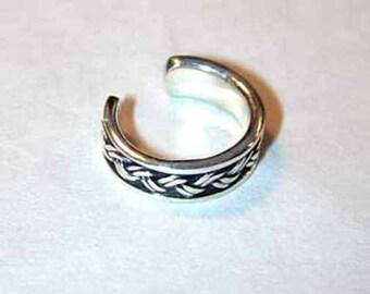 Sterling silver twist braid ear cuff-free shipping