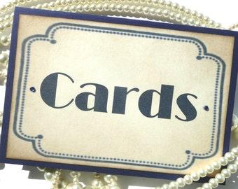 Cards Sign, Vintage Art Deco Navy, Hollywood Wedding