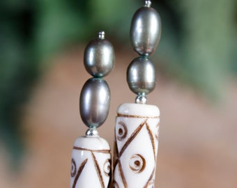 """Freshwater Pearls and Sterling Silver Carved Bone Hair Sticks - 4-1/2"""""""