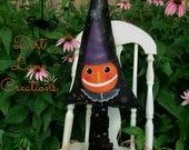 Halloween Primitive Pumpkin Witches Hat  ...Jack  O Lantern..Folk Art Painting ...Fall Decor..  FAAP