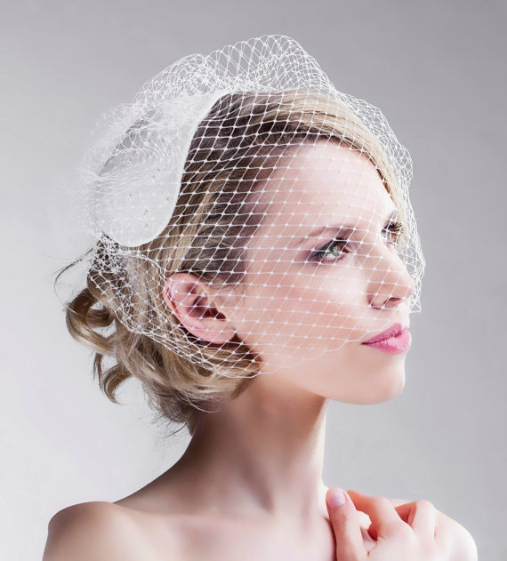 Vintage Inspired 1950's Bridal - Headpiece Vintage Weddings - Elegant Half Veil Hand Stitched Crystals Pearls Custom Made