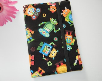 SALE Fabric Notebook Notepad Cover with Robots