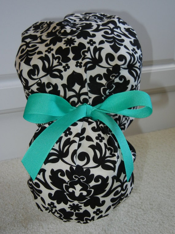 Turn Up Ponytail Scrub Hat with Day Night Damask CHOOSE RIBBON COLOR