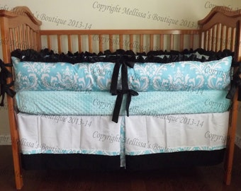 Custom Girly Aqua Blue with Black and White Boutique 2 Piece Crib Bedding Set with Ruffles