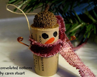 Christmas snowman ornament wine cork decoration with acorn cap handmade with upcycled materials