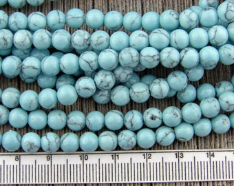 6mm Blue Howlite beads, Howlite smooth Round beads, light Pale Blue with Matrix 6 mm, Super cute Baby Blue, Gemstone Beads