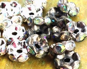 8mm - 12 pcs - Silver Patina AB Crystal Rhinestone Rondelle Spacer Beads - Wavy Edged - Choice of Oxidized or Bright Silver - Patina Queen