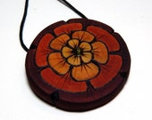 Tribal Red Marigold Kadifa Round Magnolia Wood Pendant with Peridot Green Glass Bead Necklace on Hemp by Tanja Sova