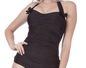 30% OFF Rita Ruched Front Bow Back Onepiece Halter Swimsuit in Black (XS-2X)