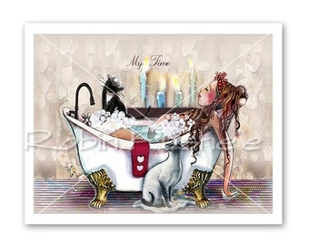 SALE, Bathing Beauty, and Cats, bath tub and candlelight, Whimsical 9x12Print