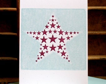 Stars letterpress card with solid background