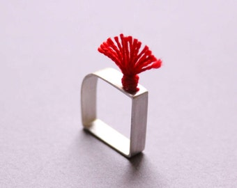 Sterling silver Square ring with red thread - Commander Fire - Custom made ring