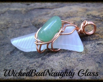 Recycled  Glass And Green Aventurine Wire Wrapped Pendant