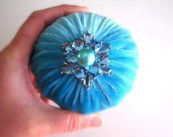 "4"" Aqua Emery Pincushion / Pin Cushion - Abrasive Pincushion LIMITED EDITION"