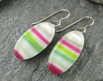 Colorful Oval Fused Glass Earrings. Fused Glass Jewelry.  Fun Summer Jewelry. Modern Jewelry.  Handcrafted in Texas.