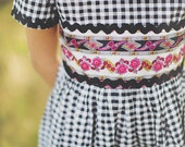 1950's Style Black Checked Rick Rack Dress children child girls clothing