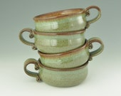 Single Serving 5 inch Casserole in Honey Brown and Sage Green with Scrolled End Handle, Ready to Ship