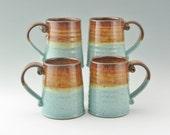 Handmade Tavern Beer Mug, Honey Brown and Turquoise 16 oz Coffee Mug, Ready to Ship