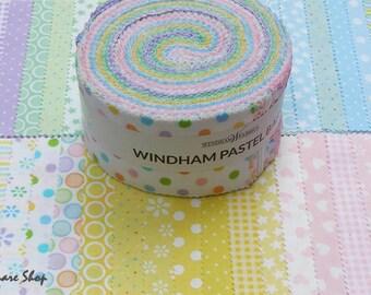 "Windham PASTEL BASICS Precut 2.5"" Fabric Quilting Cotton Strips Jelly Roll Baum JRPB-80"