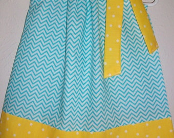 12m Pillowcase Dress with Chevron Dress Blue and Yellow Minion Party Dress toddler dresses Summer Dresses for Baby dress Ready to Ship