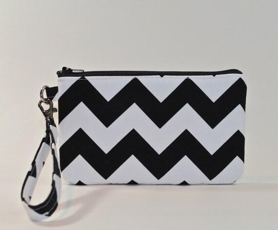Wristlet / Padded Zipper Pouch - Chevron Stripes in Black