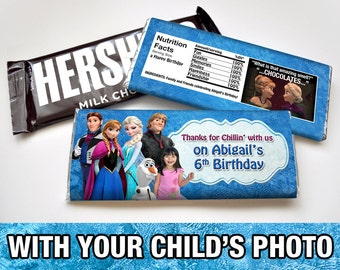 Frozen Birthday Hershey Bar Wrapper - Version 2 - with your child's photo - DIGITAL FILE