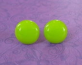 Lime Green Earrings, Bright Green Studs, Pierced Post Earings, Hypoallergenic, Fused Glass Jewelry - - 81-5