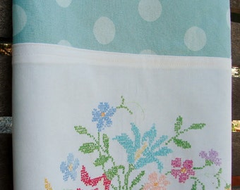 Recycled Vintage Pillowcase to Upcycled Tea Towel - Boho Style Bouquet - Homespun Home Decor
