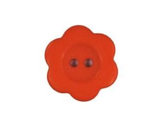 Orange Matte Flower Buttons - 4pk