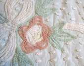 "Vintage Chenille Fabric Floral Mint Green Seafoam Pale Aqua 23"" x 87"""