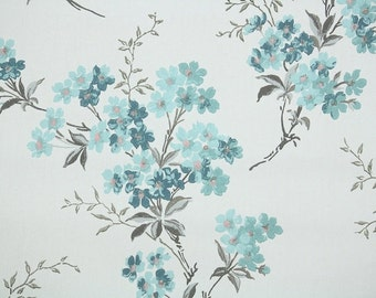 1940s Vintage Wallpaper by the Yard - Floral Wallpaper with Branches of Blue Flowers