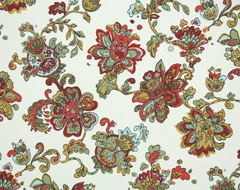 1940s Vintage Wallpaper by the Yard - Floral Wallpaper Paisley with Red Blue Green and Gold Flowers