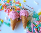 Strawberry Ice Cream Cone Earrings, Ice Cream Earrings, Polymer Clay Food, Food Jewelry, Miniature Food Jewelry