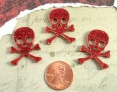 3 SKULL CABOCHONS- In Red Glitter Laser Cut Acrylic