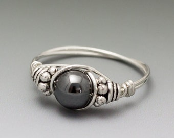 Hematite Bali Sterling Silver Wire Wrapped Bead Ring - Made to Order, Ships Fast!