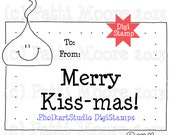 Merry Kiss-mas Gift Tag - Instant Download Digital Stamp