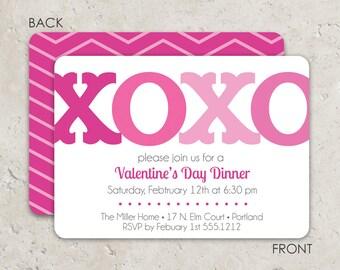 Valentine's Day Party Invitation - XOXO with chevron -  Fun 2-sided Design on premium cardstock