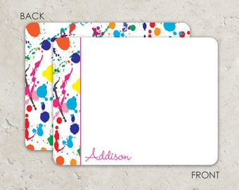 Art Party Flat Notecards with paint splatters and 2-sided printing