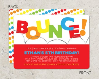 Bounce House Birthday Party Invitation, Pump It Up Party, Trampoline Party Invitation