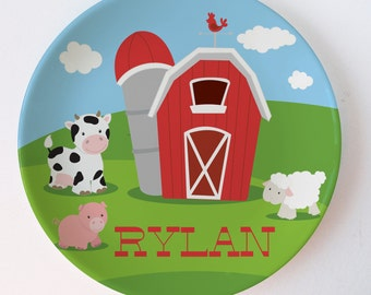 Personalized Melamine Plate -Barn melamine plate with farm animals